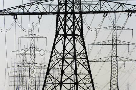 group of electric power poles photo