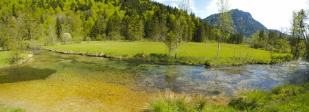 panorama rural landscape with creek in Bavaria at summertime photo