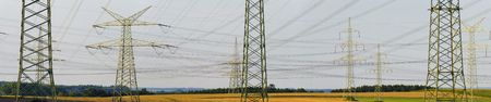 panorama of electric power poles photo