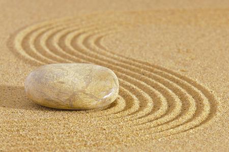 raked: Japanese ZEN garden with stone in raked sand
