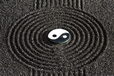 zen garden: Japanese ZEN garden with stone of yin and yang  in raked sand