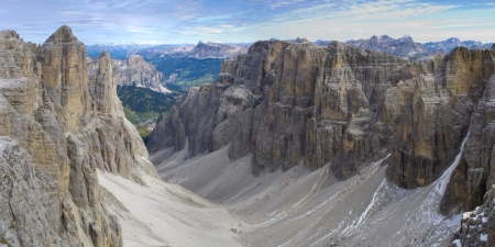 sella: panorama landscape at dolomites in alps mountains with sella peak Stock Photo