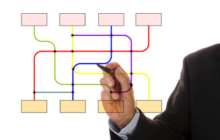 businessman shows empty flowchart for your individual text photo