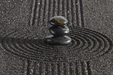 Japan zen garden with stones in raked sand photo