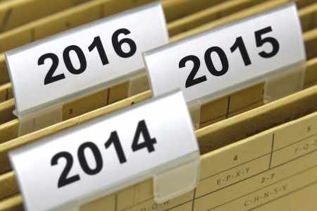 folders marked with years 2014, 2015 and 2016 photo
