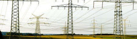 electric utility: panorama of many electric power poles