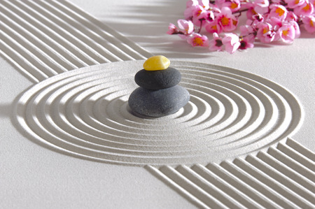harmony: Japanese ZEN garden with stone in sand Stock Photo
