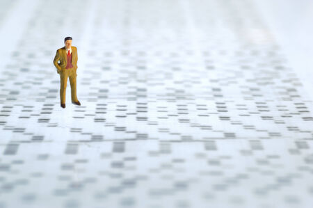 sequencing: man over dna sequence gel