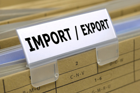 customs: folder marked with import  export Stock Photo
