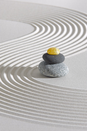 Japanese ZEN garden with stacked stones photo