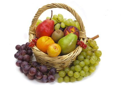 basket with fresh mixed fruits photo