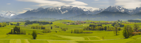 panorama landscape in Bavaria with alps mountains photo