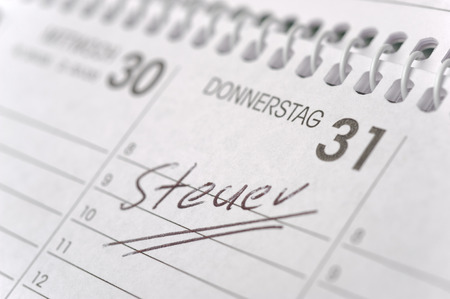 german mark: calendar marked with german tax-day