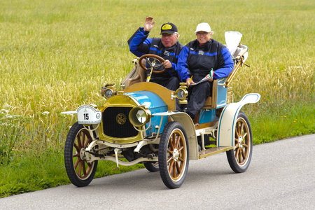 LANDSBERG, GERMANY - JULY 12, 2014: Public oldtimer rally organized by Bavarian city Landsberg for at least 80 years old veteran cars with unknown drivers in Le Zebre, built at year 1909