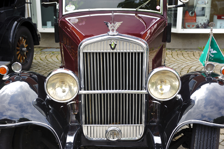 oldtimer: LANDSBERG, GERMANY - JULY 12, 2014: Public oldtimer rally in Bavarian city Landsberg for at least 80 years old veteran cars with a front view of Wanderer W10, built at year 1930