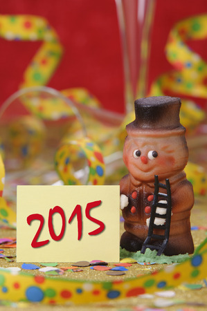 hat new year s eve: talisman in marzipan for new year 2015 Stock Photo