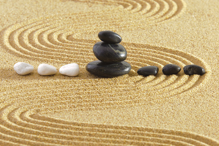 Japanese garden with rocks in sand  Stock Photo