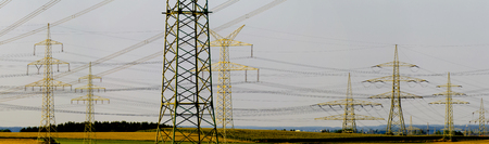 hydroelectric: group of many electric pylons