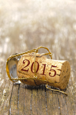 シャンパンのコルクと新年 2015 写真素材