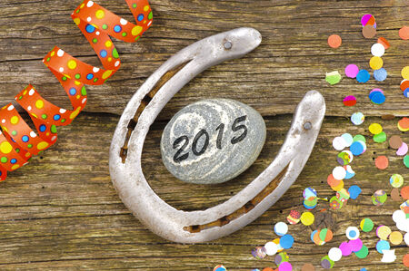 new year 2015 with horseshoe as talisman for good luck photo