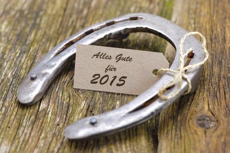 talism�n: nuevo a�o 2015 con la herradura como talism�n para la buena suerte Foto de archivo