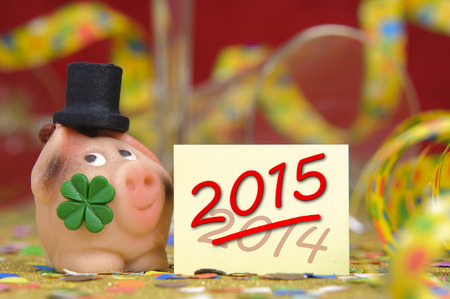 talisman: new year 2015 with talisman and clover leaf Stock Photo
