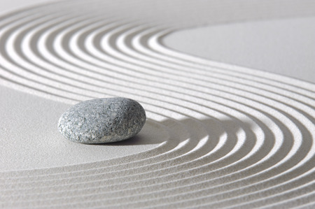 black stones: Japanese ZEN garden with stone in sand Stock Photo