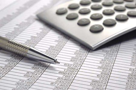calculation: financial business calculation with calculator Stock Photo