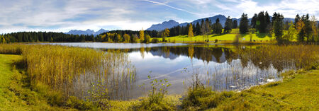 quiet scenery: panorama view to beautiful rural landscape nearby city Fuessen in Bavaria, Germany
