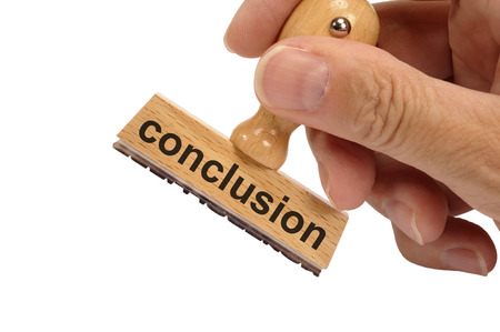 conclusion marked on rubber stamp 스톡 콘텐츠