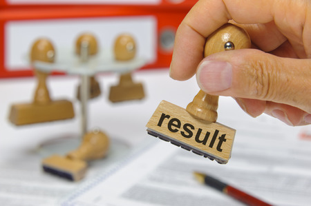result marked on rubber stamp photo