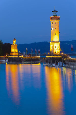 light house of the harbour of german city Lindau at lake Bodensee in Bavaria photo