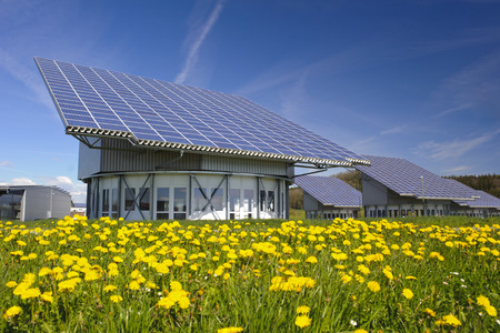 solar panel roof: solar system on industrial roof in Germany