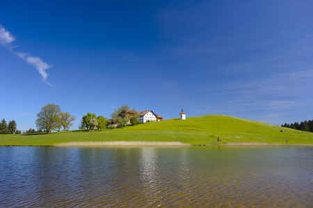 reflektion: Panorama landscape in Bavaria at alps mountains and lake