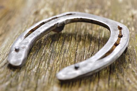charm: old horseshoe on wood