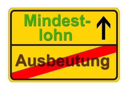 german traffic sign shows the way from exploitation to minimum wage Stock Photo