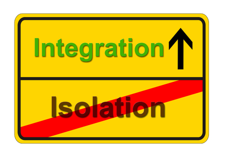 isolation: german traffic sign shows the way from isolation to integration Stock Photo