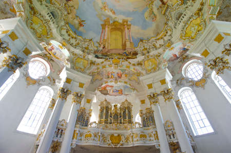 inddor: church named Wieskirche in Bavaria is a world famous landmark and UNESCO heritage Editorial