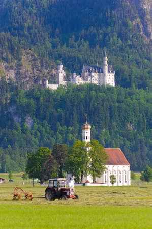 schwangau: castle Neuschwanstein and pillgrimage church St. Coloman in Bavaria