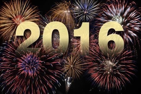 新年あけましておめでとうございます 2016年花火で 写真素材