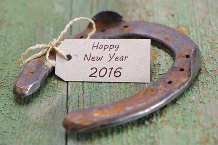 lucky charm: Happy new year 2016 with horse shoe as lucky charm Stock Photo