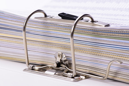 bureaucratic: detail of file folder with documents Stock Photo