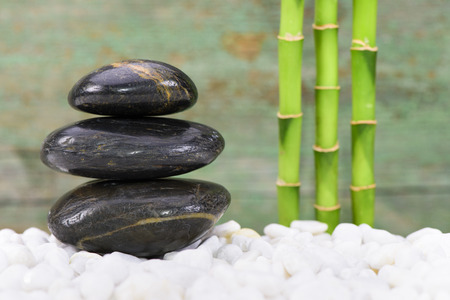 Japanese ZEN garden with feng shui and stacked stones