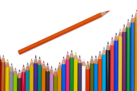 group of colorful pencil shows chart and growth with success photo
