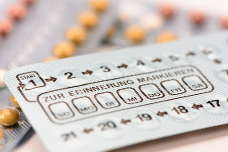 birth control pills in box Stock Photo