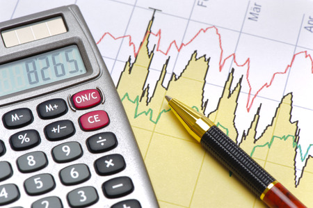 calculation: finance and budget calculation with chart Stock Photo