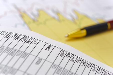 spreadsheet: chart of stock exchange and spreadsheet