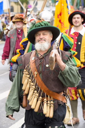parades: Munich, Germany -  September 20, 2015: The Oktoberfest is the world biggest beer festival and at the opening parade with rd. 9000 participants take part with historical costumes, music bands and horses Editorial