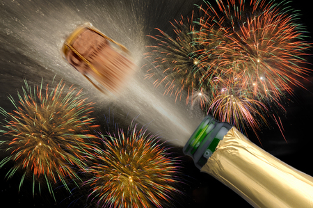 popping: new year 2016 with popping champagne and firework