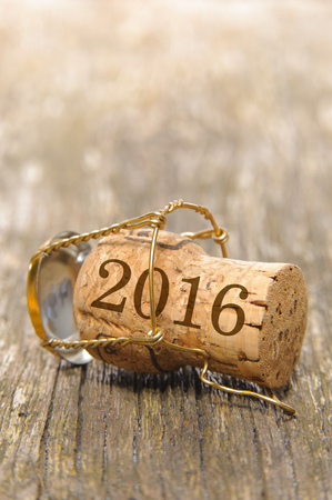 champagne cork: new year 2016 with cork of champagne on wooden plank